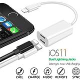 iPhone 7/7plus adapter kopfhörer und laden, Alquar Dual Lightning Adapter 2 in 1 Unterstützung Music Control ,aufladen und anrufen für IPhone 7/7plus /8/8plus /X,(Kompatibel mit IOS 11)