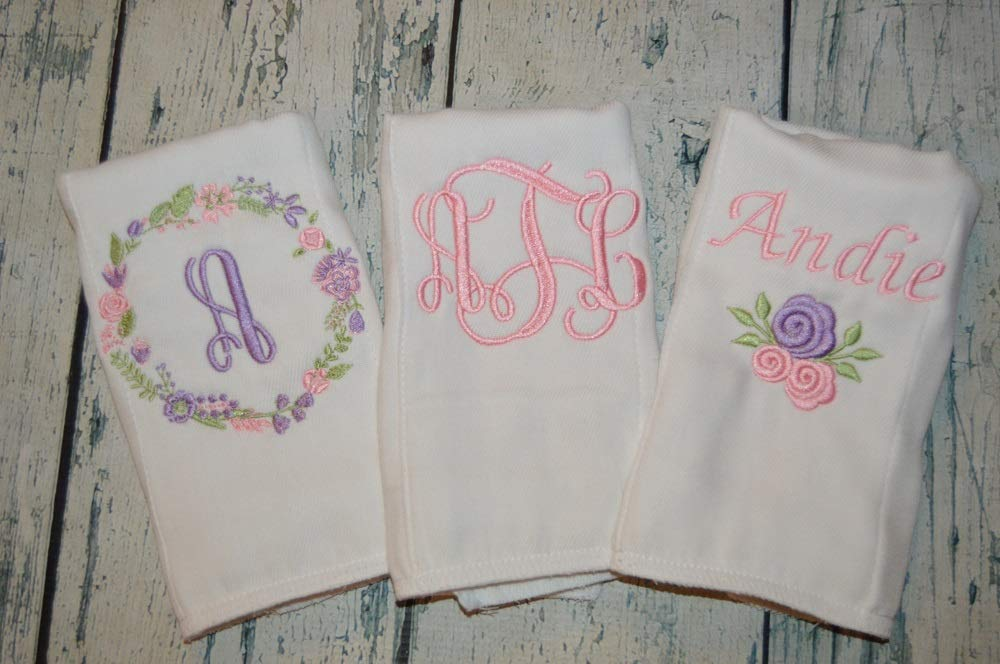 Gift set of 3 Embroidered Burp Cloths for a Little Girl