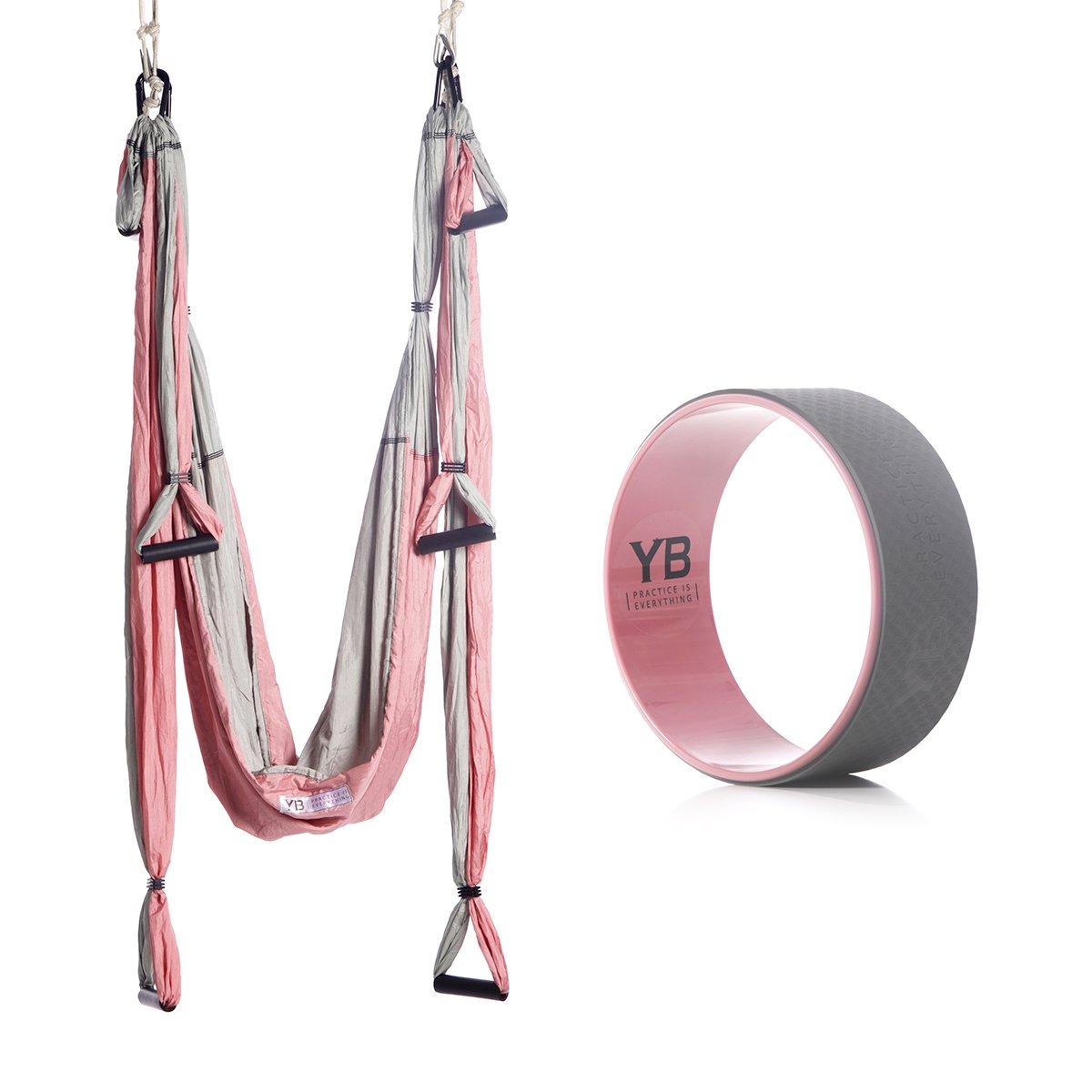 Bundle - 2 Items: Yoga Trapeze Baby Pink & Yoga Wonder Wheel Baby Pink [Bundle] - By YOGABODY - with 2 Free DVD