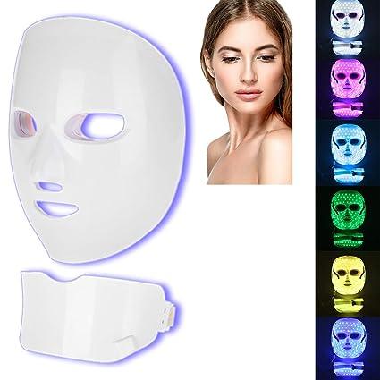 Máscara LED Luz 7 colores Facial Rejuvenecimiento ...