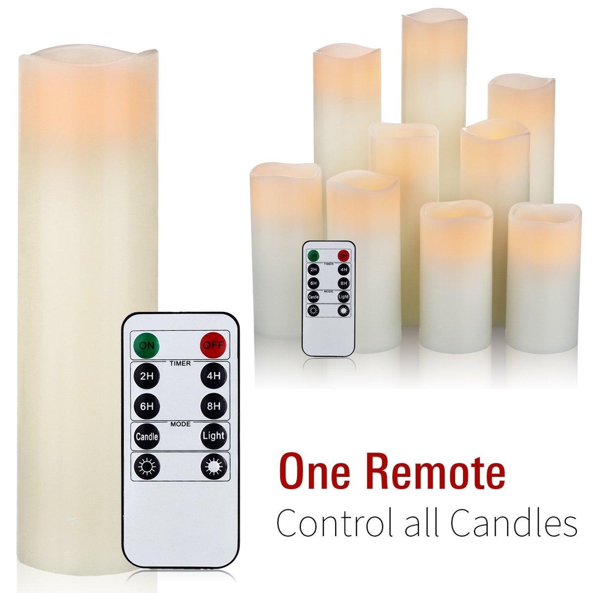 Flameless Candles, Led Candles Set of 9(H 4'' 5'' 6'' 7'' 8'' 9'' xD 2.2'') Ivory Real Wax Battery Candles With Remote Timer by (Batteries not included) by comenzar (Image #4)