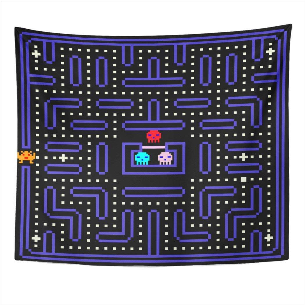 Suklly Tapestry Wall Hanging 8-Bit Pixel Retro Arcade Game Old Video Home Decor Polyester Living Bedroom Dorm 60 X 80 Inches Picnic Mat Beach Towel Bed Cover