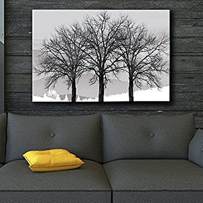 Charming Work of Art, Black and White Trees in Winter Gray Landscape Photo and Illustration Eye catching Wall Decor …, Classic Design
