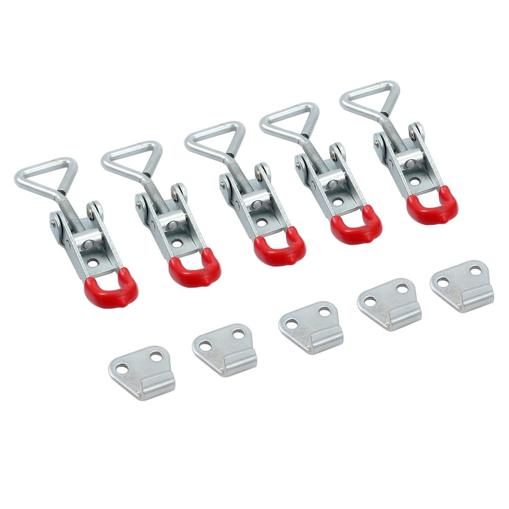 Tanice 5PCS Adjustable Toggle Clamp 100kg 220Lbs Holding Capacity Hasp Clamp Steel Latch Catch Clip Pull Action Latch for Tool Boxes, Trunk, Cases