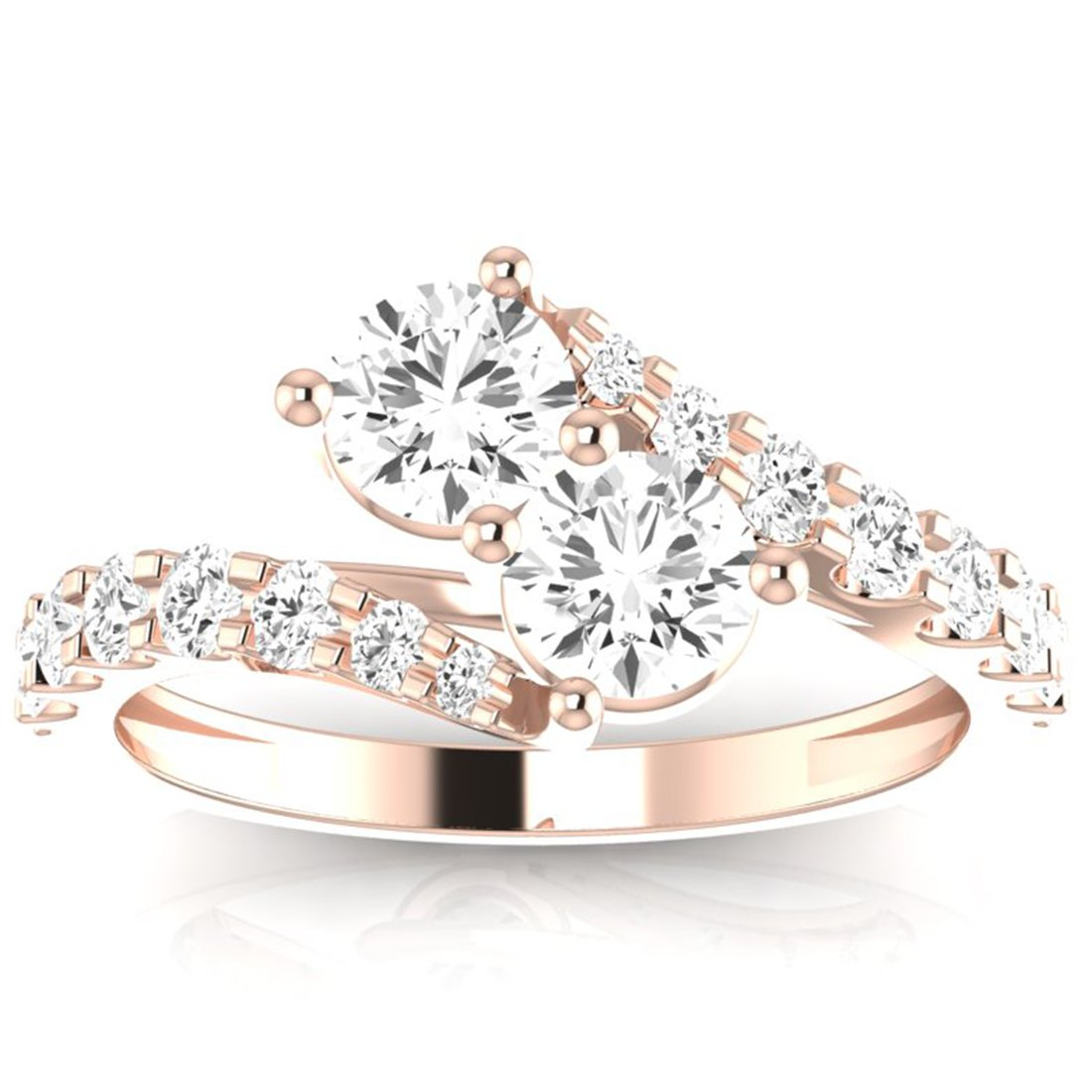 3/4 Carat t.w. Twisting Pave Set 2rue Love 2 Stone Collection Round 14K Rose Gold Diamond Engagement Ring (J-K Color, VS1-VS2 ClarityCenter Stones)