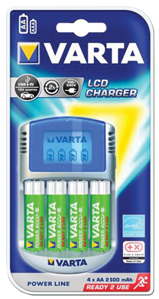 Varta LCD Charger - Cargador con cable USB y adaptador de 12 V (incluye 4 pilas AA recargables de 2600 mAh, precargadas)