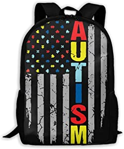 Leisure Outdoor Sports Bag School Backpack Autism Awareness Portable Laptop Bag Travel Daypack for Classroom/Office/Library/Zoo/Beach/Playground