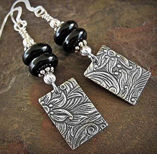 (Long Black Earrings Southwest Style Floral Dangles With Onyx And Sterling Silver)