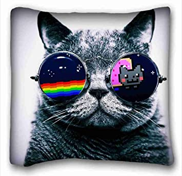 Soft Pillow Case Cover Animals Nyan Cat Glasses Custom Zippered 16x16