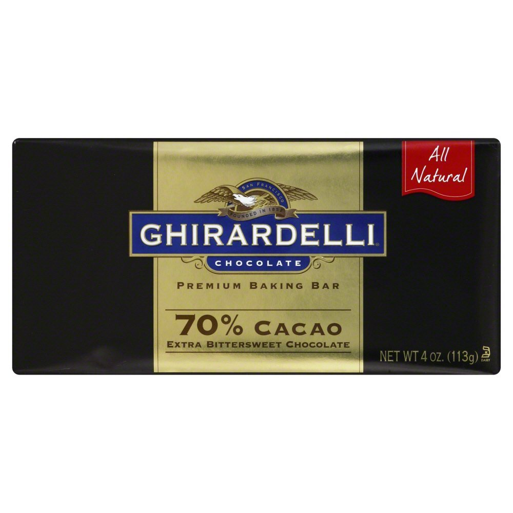 Ghirardelli 70 Percent Cacao Extra Bittersweet Baking Bar, 4 Ounce -- 12 per case.