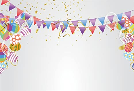Laeacco Colorful Balloons Backdrop 10x6.5ft Happy Birthday Vinyl Photography Background Dots Stripes Stars Musical Bokeh Haloes Children Baby Girls Boys Party Celebration Banner Photo Props Wallpaper