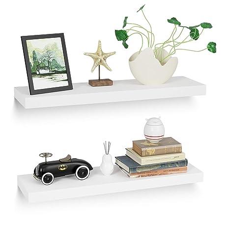 Homfa Wandregal 2er Set Wandboard Bücherregal Schweberegal Hängeregal  Küchenregal CD DVD Regal aus MDF weiß 60 x 20 x 3.8cm