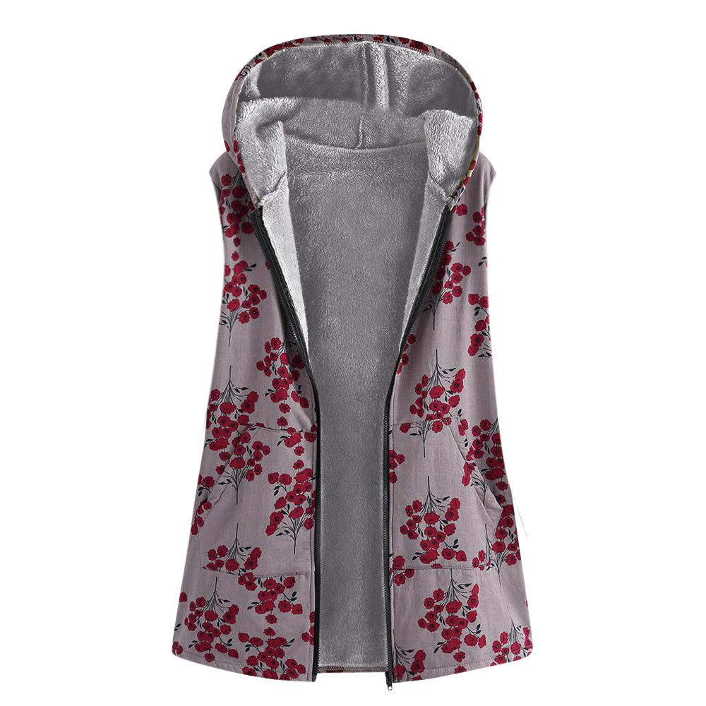 AKIMPE Womens Winter Warm Outwear Floral Print Hooded Pockets Vintage Oversize Coats Red XL
