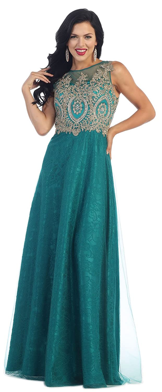 Amazon.com: May Queen MQ1293 Prom Dance Formal Dress (6, Teal Green): Clothing