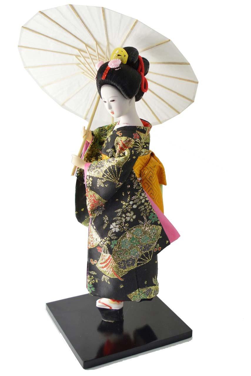 Japanese Doll - Geisha with Umbrella - 30cm/12'' Tall - Asian Doll - GD053
