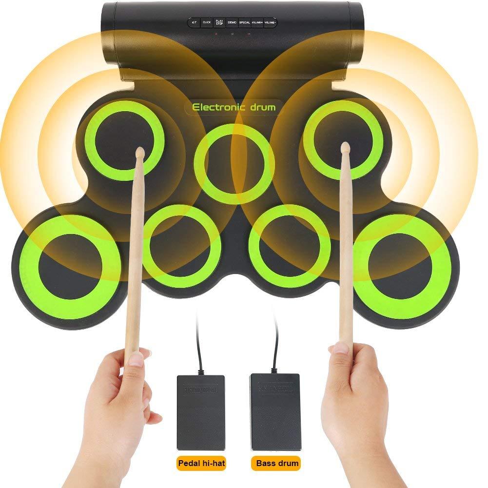 【信頼】 電子ドラムセット、子供、少年、女の子、幼児、ポータブルロールアップ7練習パッド B07P3L5XD3、スティックとペダル付き電動ドラムキットのための教育初期開発玩具 B07P3L5XD3, 時計屋さんロジスティックス:e065cf5c --- a0267596.xsph.ru