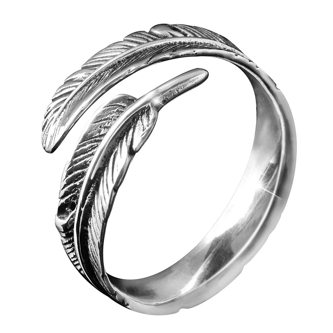 Feathers Antique Silver Women's Ring MATERIA by Matthias Wagner #SR-23