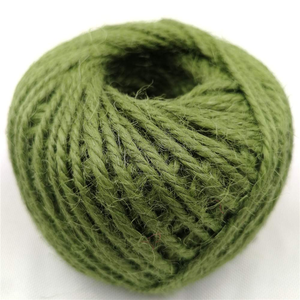 Diyjoys Army Green Color 50 Yards per roll Natural Jute Twine 2.0mm String for Art Craft Gift DIYJT015ARMYGREEN50M