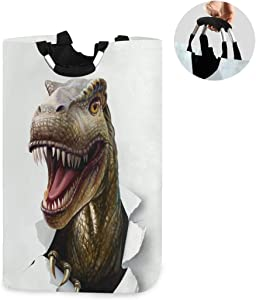 ALAZA Large Laundry Basket Dinosaur Ti Rex Animal Laundry Bag Hamper Collapsible Oxford Cloth Stylish Home Storage Bin with Handles, 22.7 Inch