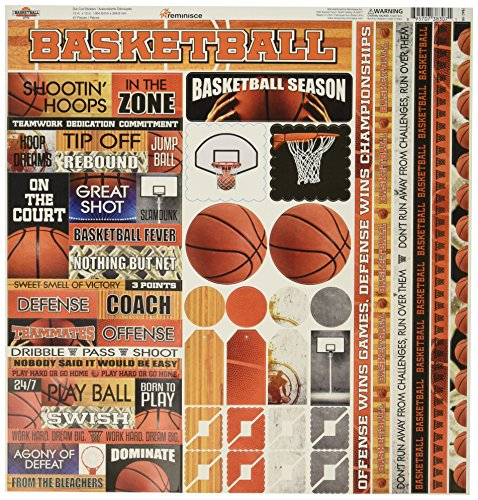 Reminisce TBAC-100 Basketball Cardstock Sticker, 12