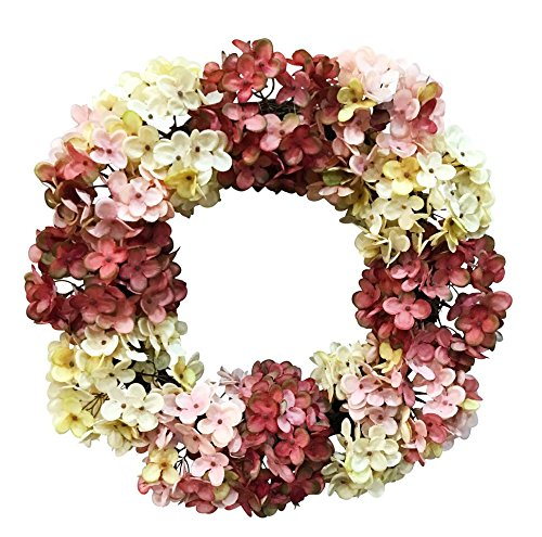 V-Max 24 inches Hydrangea Flower Wreath, Wreath for Front Door, Beautiful Handcrafted Wreath for Home Decor, Weddings Cream Mauve