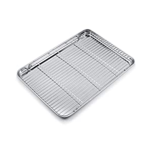 """Large Baking Sheet with cooling rack Stainless Steel Baking Tray Cookie Sheet Oven Tray Pan (19 5/8""""× 13 3/4""""× 1 3/16"""",Non Toxic & healthy,Rust Free & Less Stick,Easy Clean & Dishwasher Safe)"""