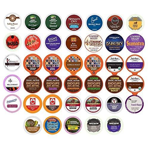 Dark Roast Coffee Pods - 40-count BOLD & DARK ROAST COFFEE Single Serve Cups For Keurig K Cup Brewers Variety Pack Sampler