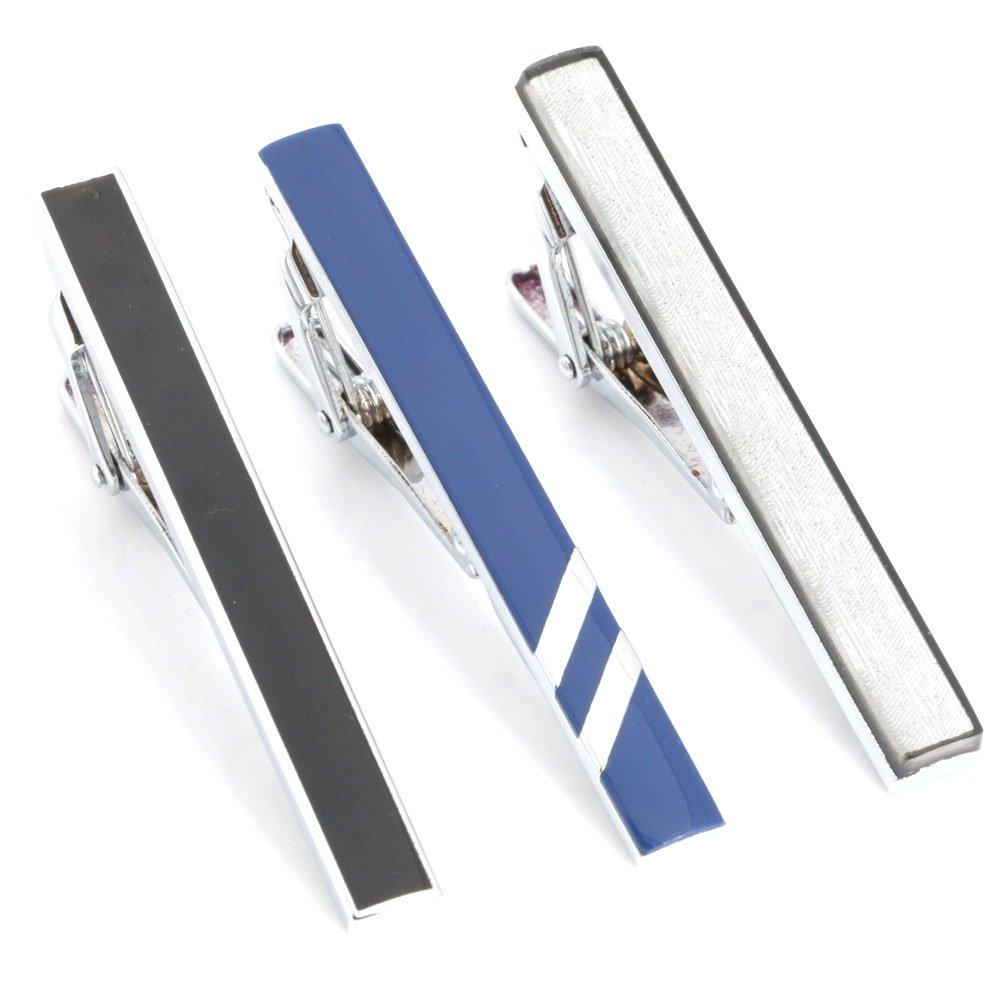 3pc Mix Colored Alloy Metal Mens Fashion Necktie Clips Set GWD UK_B01JJA5WU4