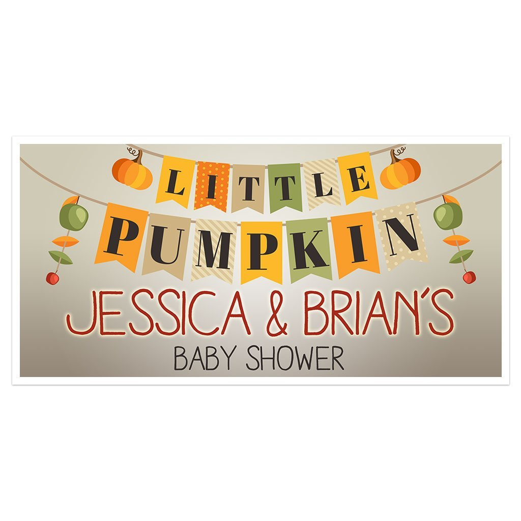 Little Pumpkin Baby Shower Banner Personalized Custom Party Backdrop Decoration