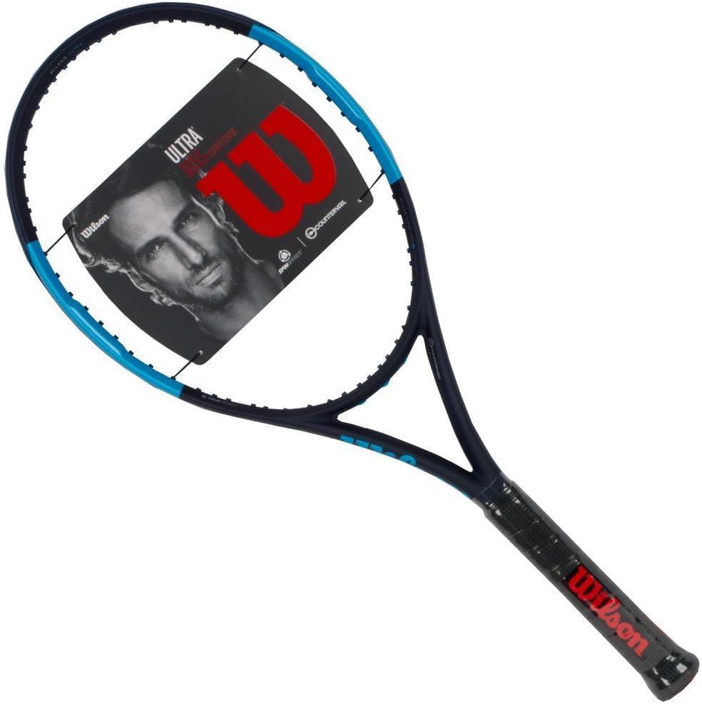 Wilson Ultra 105S CV Countervail Blue Black Extended Midplus 16×15 Tennis Racquet Strung Custom String Colors Best Racket Power Spin