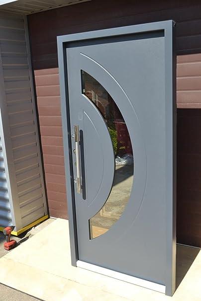 Nr, 4 Diseño de la puerta de la casa, apartamento puerta de colour gris oscuro 1000 x 2100 mm, interior de DIN a la izquierda, puerta, puertas de seguridad: Amazon.es: Bricolaje y herramientas