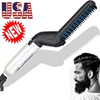 Quick Hair Straightening, Beard Straightening Comb Curly Hair Straightening Curler Comb GREATSSLY Men's Professional Quick Hair Styler Multifunctional Hair Comb Curling Iron