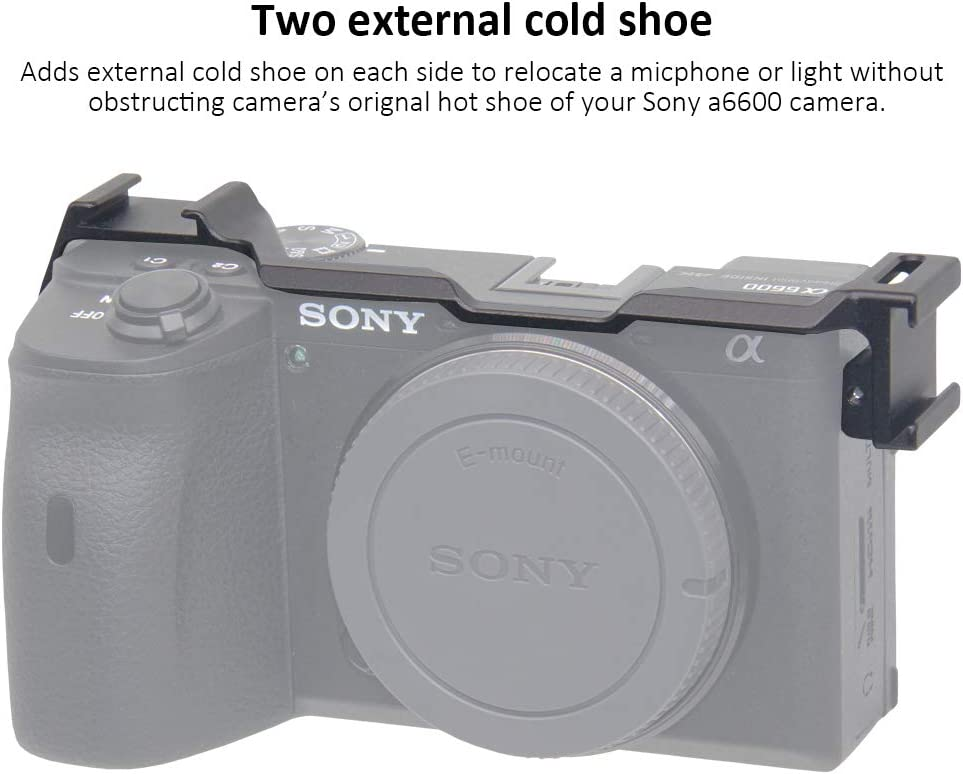 Cold Shoe Mount Relocation Plate for Sony Alpha A6600 Camera Quick Release Cold Shoe Plate to Mount Microphone Shock