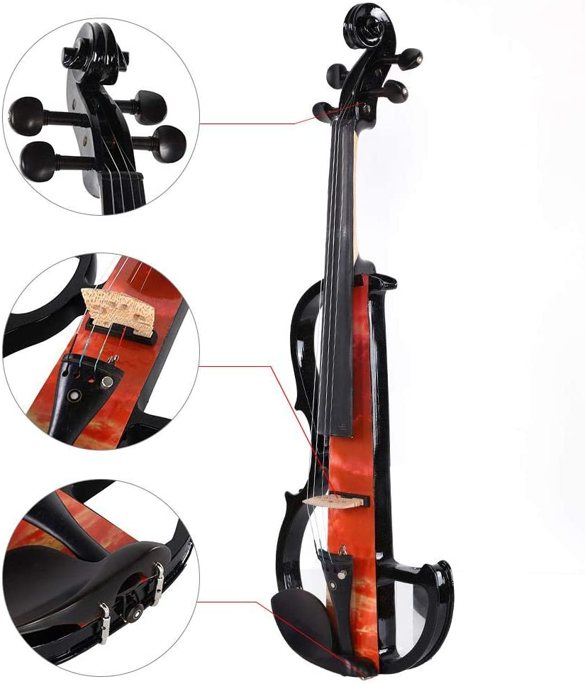 Orange Solid Maple Wood Violin Fittings with Carrying Case for Professional Performance GOTOTOP Electric Violin
