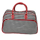 World Traveler 21-Inch Carry-On Shoulder Tote Duffel Bag, Red Trim Houndstooth, One Size