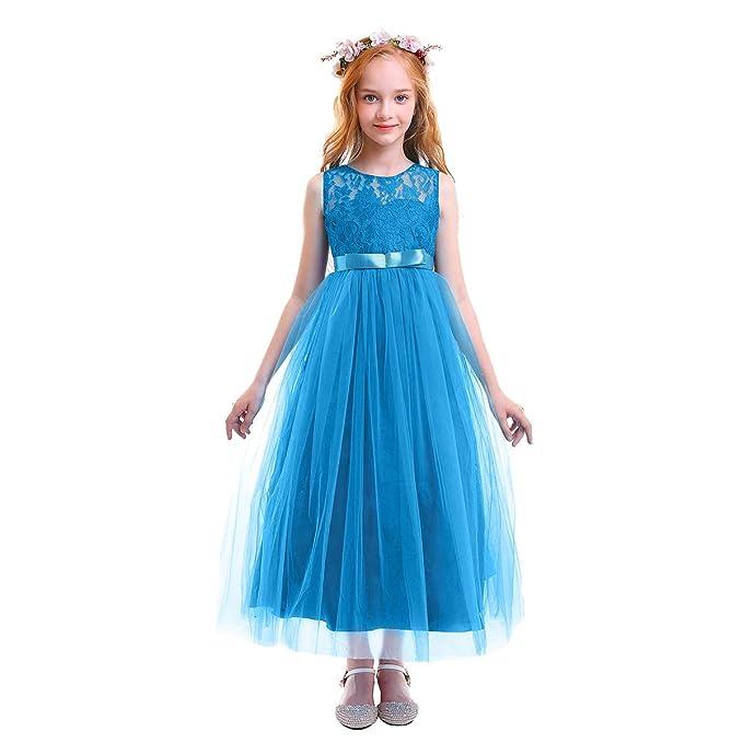 988c5ddab16d Amazon.com  Girls Vintage Lace Long Princess Dresses Formal Wedding ...