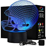 FOOTBALL HELMET NIGHT LIGHT 7 Color LED Does Not Get Hot comes with MAINS PLUG and USB cable larger size 203mm x 206mm A Great Gift Idea for Him Boys Kids or Dad. Prime Sports Fan Gift by rainbolights