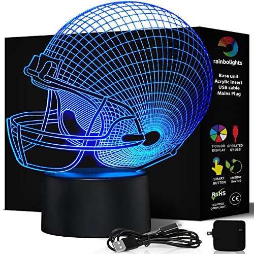 FOOTBALL HELMET NIGHT LIGHT 7 Color LED Does Not Get Hot comes with MAINS PLUG and USB cable larger size 203mm x 206mm A Great Gift Idea for Him Boys Kids or Dad. Prime Sports Fan Gift by rainbolights -