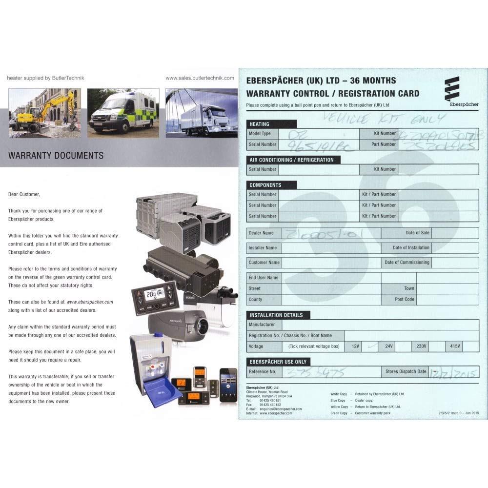 Eberspacher eSPAR Airtronic D2 heater 12v with 80110003 temperature control