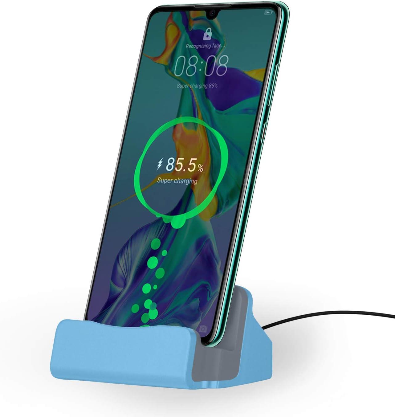 NessKa® Station d'accueil avec câble USB de 2 m pour Ordinateur de Bureau et Station de Charge pour Samsung Galaxy/Huawei/OnePlus/Xiaomi/Google/Sony/HTC/LG/ZTE/WIKO/Nokia