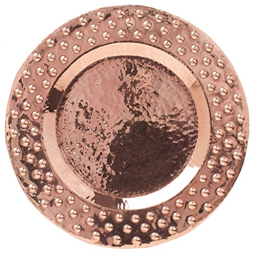 Sertodo Copper POB-12 Oblation Round Platter Plate, Hand Hammered 100% Pure Copper, 12