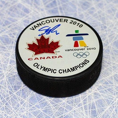 Gold Autographed Puck (Shea Weber Team Canada 2010 Olympic Gold Autographed Puck - Autographed NHL Pucks)