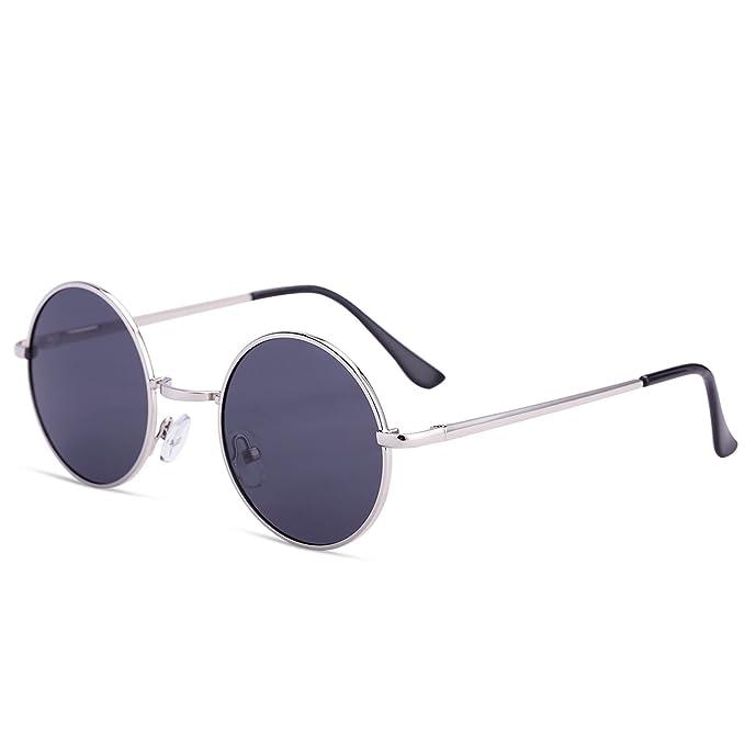 77813d7356 Dollger John Lennon Round Sunglasses Steampunk Metal Spring Frame Mirror  Lens (Silver)