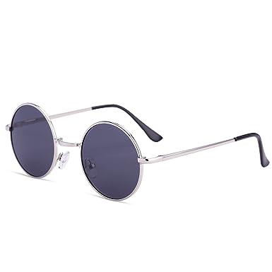 33e2289ea38 Dollger John Lennon Round Sunglasses Steampunk Metal Spring Frame Mirror  Lens(C2 Black Lens+Thin Silver Frame)  Amazon.co.uk  Clothing