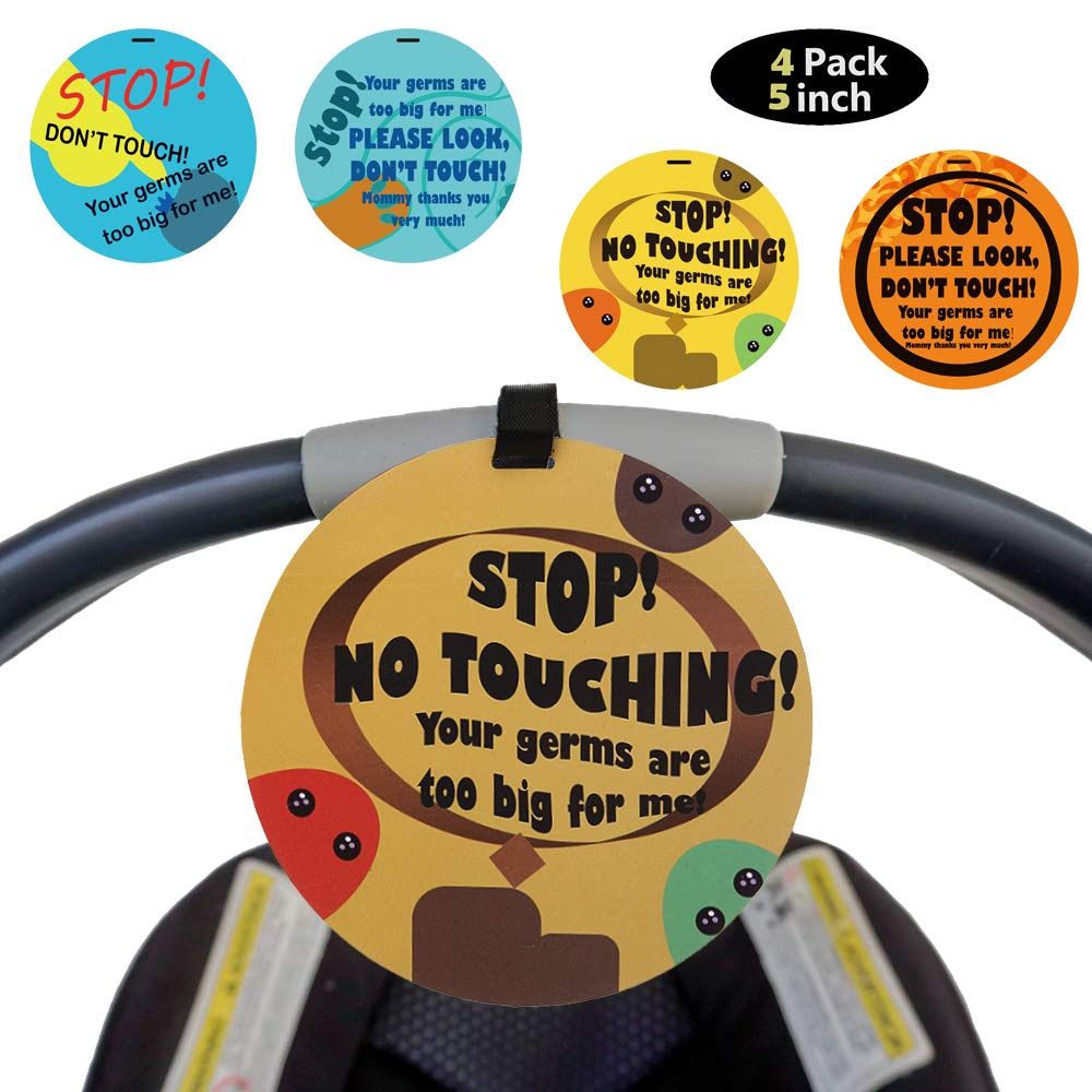 4 Pack No Touching Sign for Baby Car Seat, Newborn Baby Safety Tag, Don't Touch Stroller Tag Shower Gift for Baby Preemie