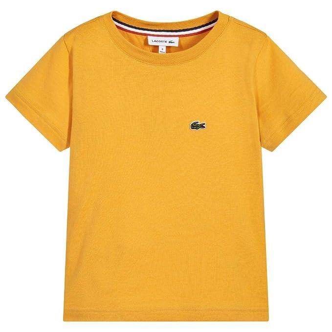 4acaed449 Lacoste - Camiseta de Manga Corta - para niño Amarillo Amarillo 8 Años   Amazon.es  Ropa y accesorios