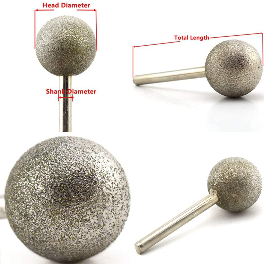 6mm Schaft Kugelf/örmiger Kopf Diamantschleifk/örper Beschichtete Montagepunkte Runde Kugelfr/äser Schaft 6 K/örnung Grobwerkzeuge F/ür Steinbohrer Metall Diamant