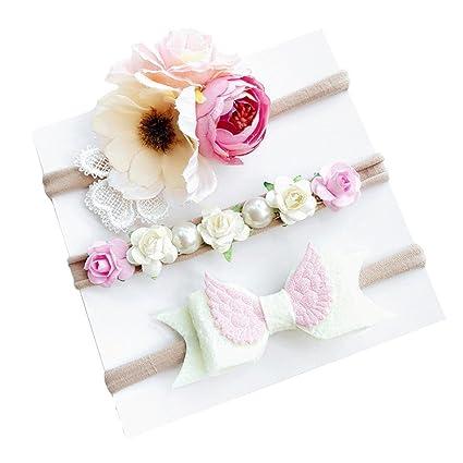 Diademas Bebé , ❤️Amlaiworld Diademas Bebe Niña Recien Nacidos 3pcs Moda Lindo Flores Diademas Niñas
