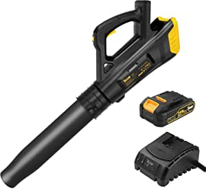 TECCPO 20V Cordless Leaf Blower with Turbine Fan, 85MPH 310CFM Air Volume, Dual Speed Adjustment, 5.1 lbs Portable Design, 2.0AH Lithium Battery Included- TDAB02G