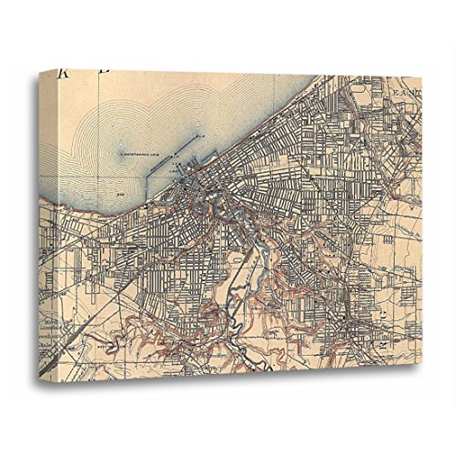 TORASS Canvas Wall Art Print Ohio Vintage Map of Cleveland Old Artwork for Home Decor 16
